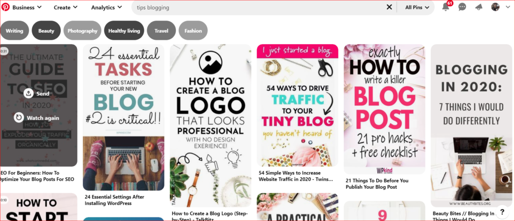 Mencari ide topik di Pinterest