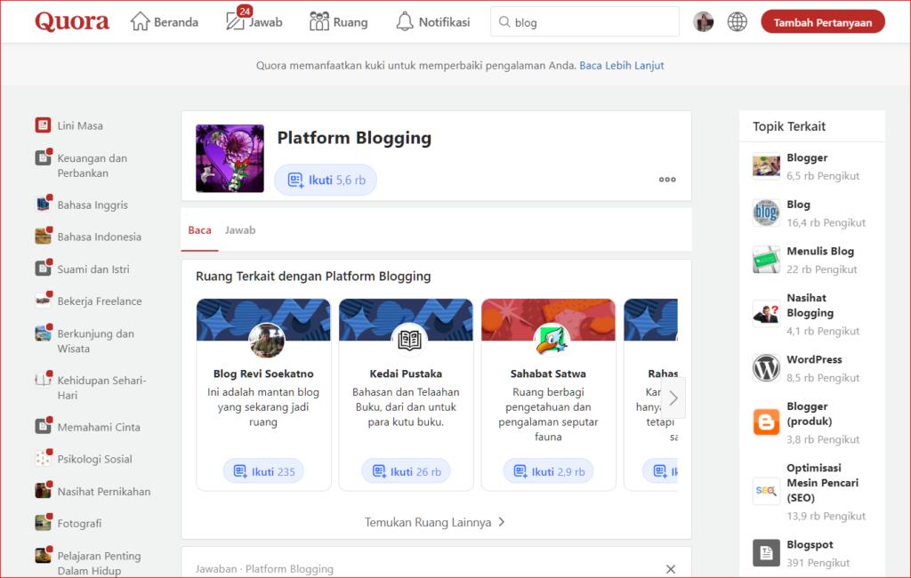 Quora platform blogging